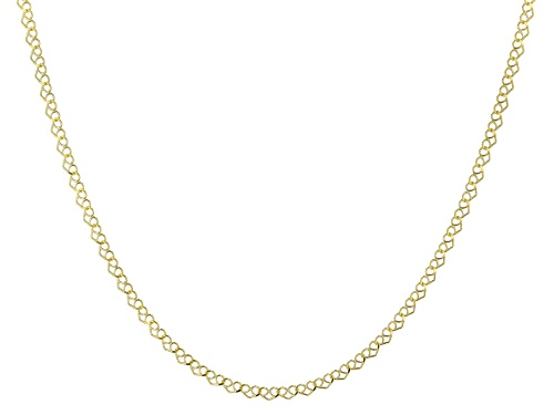 10K Yellow Gold Heart Chain Necklace 18 Inch. - Size 18