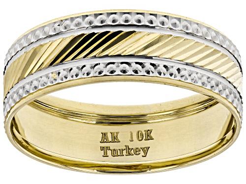 Photo of 10K Two-Tone Diamond Cut Band Ring - Size 7