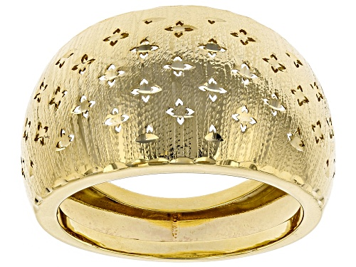 Photo of 10k Yellow Gold Domed Clover Band Ring - Size 7