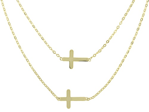 Photo of 10k Yellow Gold Double Cross Multi-Row 18 inch Necklace - Size 18