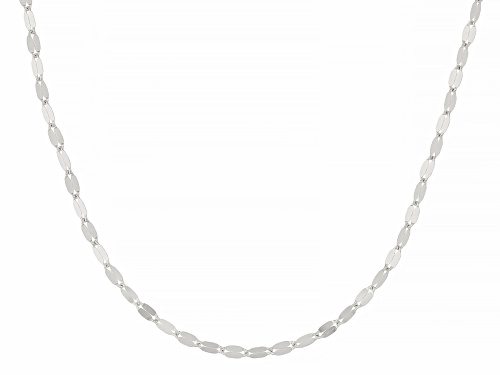 Photo of Rhodium Over 10k White Gold Polished Mirror Link 18 Inch Necklace