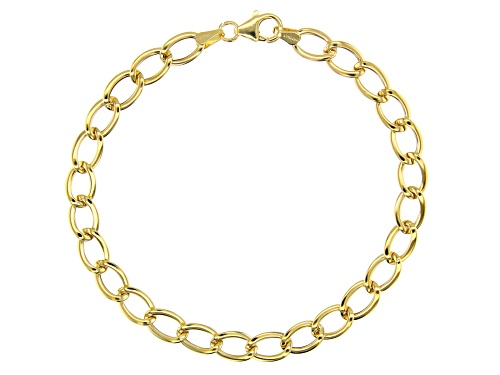 Photo of 10k Yellow Gold Polished Oval Curb 8 inch Bracelet - Size 8