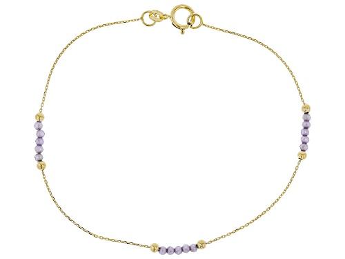 Photo of 10K Yellow Gold Diamond Cut Rolo Chain Bracelet with .75ctw Purple Diamond Simulant - Size 7.25