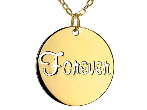 "Photo of 10K Yellow Gold ""Forever"" Stamped Necklace 18 Inches. - Size 18"
