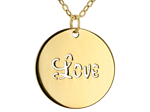 "Photo of 10K Yellow Gold ""Love"" Stamped Necklace 18 Inches. - Size 18"