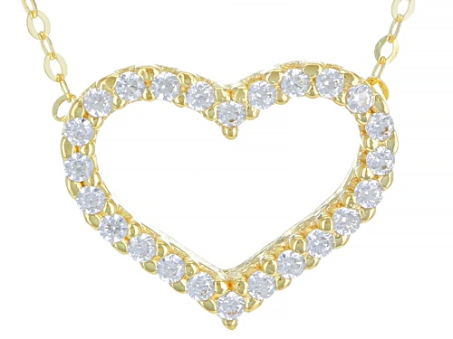 Photo of 10K Yellow Gold and 1.25 CTW Bella Luce® Diamond Simulant Heart Necklace 18 Inches - Size 18