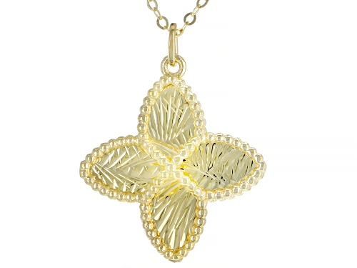 """Photo of 10KT Yellow Gold Clover Necklace 20"""" - Size 20"""