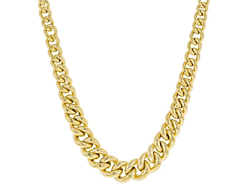 "Photo of 10K Yellow Gold Graduated Curb Necklace 18"" - Size 18"