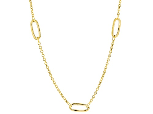 "Photo of 10KT Yellow Gold Elongated Station Necklace 20"" - Size 20"