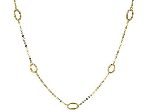 "Photo of 10K Yellow Gold Elongated Station Necklace 20"" - Size 20"