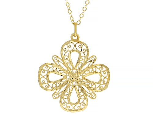 Photo of 10K YELLOW GOLD 1MM CLOVER NECKLACE - Size 18