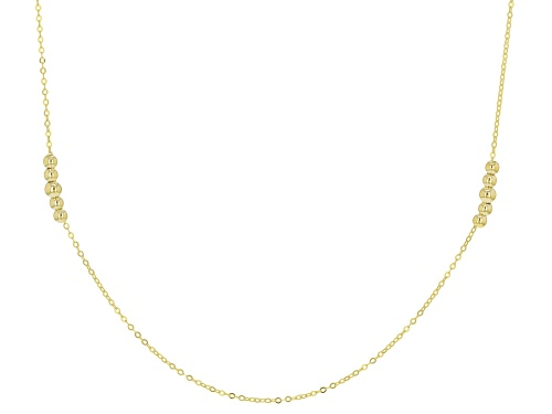 Photo of 10k Yellow Gold 1mm Bead Station 24 Inch Necklace - Size 24