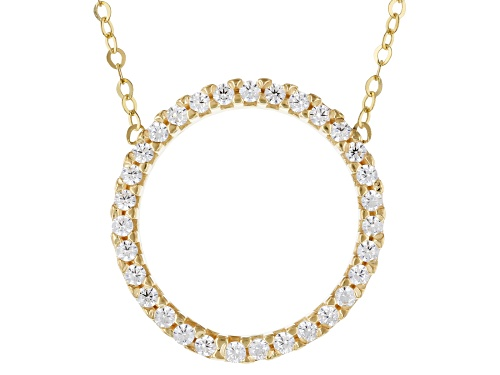 "Photo of 10k Yellow Gold Cubic Zirconia Circle 18"" Necklace - Size 18"
