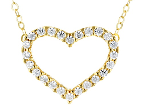 "Photo of 10k Yellow Gold Cubic Zirconia Heart 18"" Necklace - Size 18"