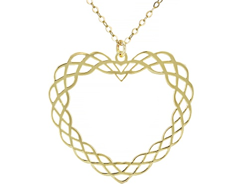 Photo of 10KT Yellow Gold Tessuti Heart Pendant Necklace - Size 18
