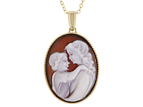 Photo of 10K Yellow Gold Cameo Mother and Child Pendant with Cable Chain 18 plus 2 Inches Necklace - Size 18