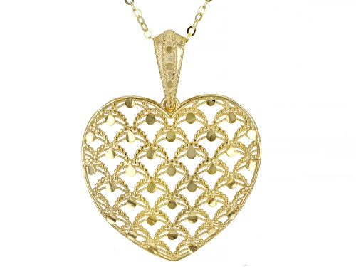 Photo of 10K Yellow Gold Laser Cut Heart Pendant with 18 Inch Cable Chain - Size 18