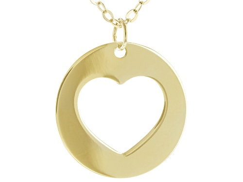 "Photo of 10K Yellow Gold 18"" Heart Necklace - Size 18"