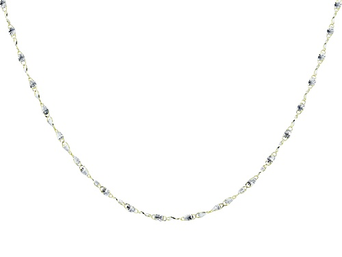 Photo of 10K Yellow Gold 2MM Twisted Bars Two-Tone 18 Inch Necklace - Size 18