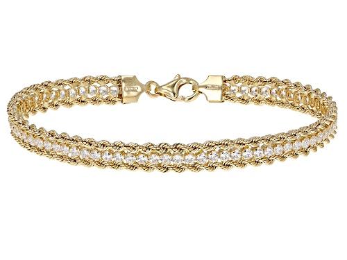 "Photo of Cubic Zirconia 14K Yellow Gold Three-Strand 7.5"" Bracelet - Size 7.5"