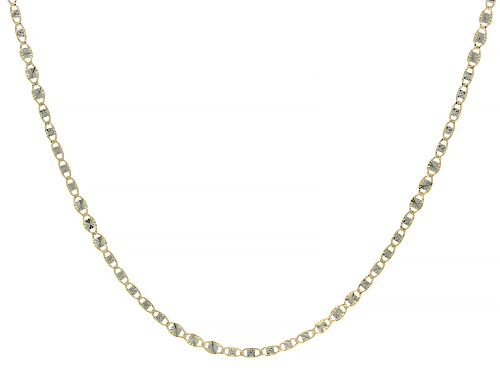 Photo of 10K Yellow Gold Diamond Cut Rhodium Accent 2.45MM Mariner Chain 18 Inch Necklace - Size 18
