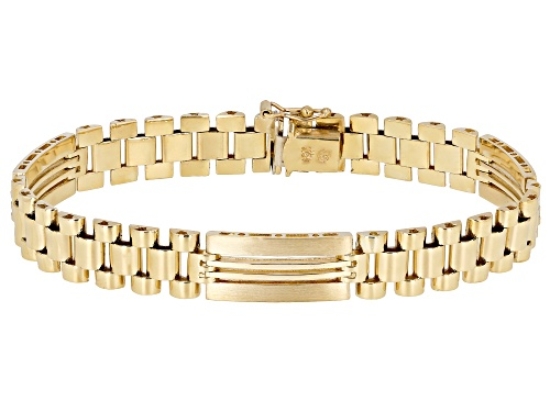10K Yellow Gold 9.5MM Polished and Satin Open Link 8.25 Inch Bracelet - Size 8.25