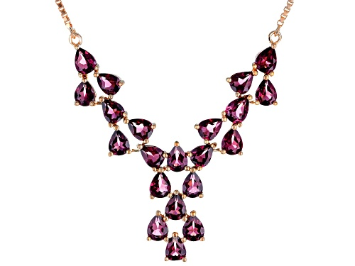 Photo of 6.74ctw pear shape raspberry color rhodolite 18k rose gold over sterling silver necklace - Size 18