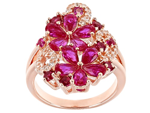 Photo of 2.81ctw pear shape & round lab created ruby with .30ctw white zircon 18k rose gold over silver ring - Size 10