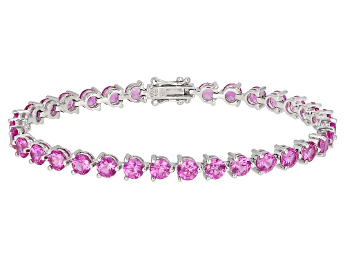 Photo of 13.60ctw Round Lab Created Pink Sapphire Rhodium Over Silver Tennis Bracelet - Size 8