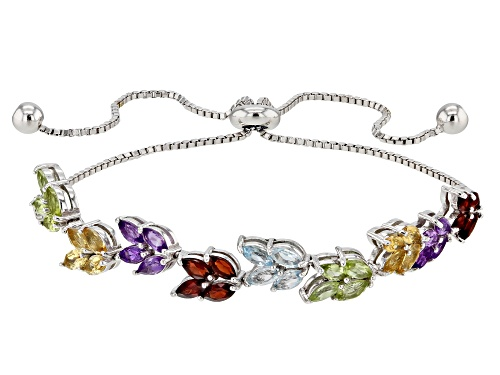 "Photo of 2.68ctw Marquise Multi-Gemstone Rhodium Over Silver Bracelet, Adjusts to Approximately 6""-9"""