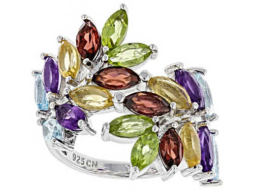 Photo of 4.60ctw Marquise Multi-Gemstone Rhodium Over Sterling Silver Bypass Ring - Size 7
