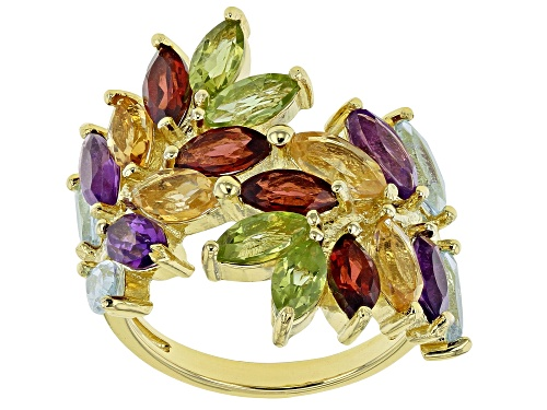 Photo of 4.60ctw Sky Blue Topaz, Red Garnet, Amethyst, Citrine & Peridot 18k Gold Over Silver Bypass Ring - Size 7