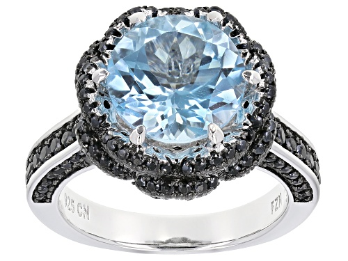 Photo of 4.19ct Round Glacier Topaz(TM) & 2.34ctw Black Spinel Rhodium Over Silver Flower Ring - Size 10