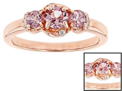 Photo of .76ctw round color shift garnet & .07ctw round white zircon 18k rose gold over silver 3-stone ring - Size 11