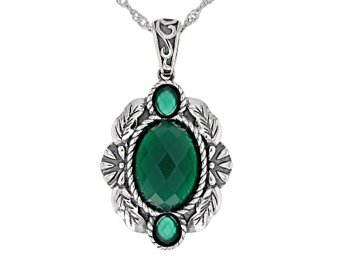 Photo of 14x10mm and 5x4mm Oval Criss-Cross Cut Green Onyx Sterling Silver Pendant with Chain