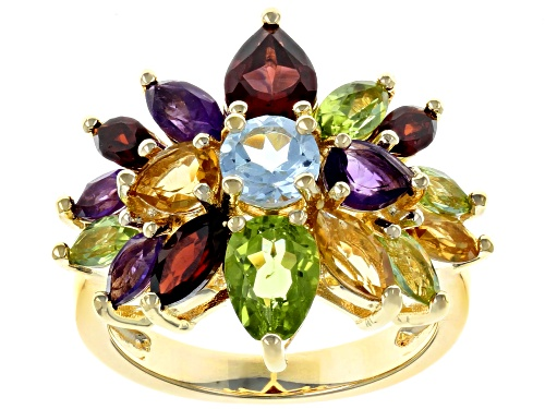 Photo of 4.36ctw Mixed Shape Multi-Gemstone 18k Yellow Gold Over Sterling Silver Cluster Ring - Size 11