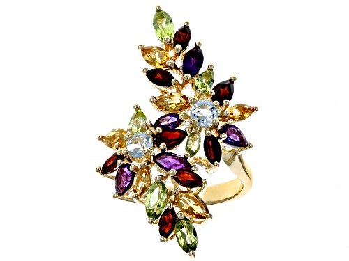 Photo of 4.95ctw Mixed Shape Multi-Gemstone 18k Yellow Gold Over Sterling Silver Bypass Ring - Size 7