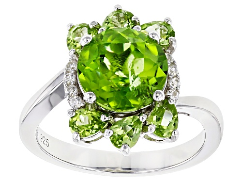 Photo of 3.42ctw Round & Pear Shape Manchurian Peridot(TM) & .07ctw Zircon Rhodium Over Silver Ring - Size 8