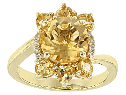 Photo of 3.24ctw Round & Pear Shape Brazilian Citrine, .07ctw Zircon 18k Gold Over Silver Ring - Size 9
