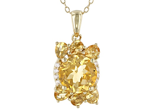 Photo of 3.24ctw Round & Pear Shape Brazilian Citrine, .07ctw Zircon 18k Gold Over Silver Pendant W/ Chain