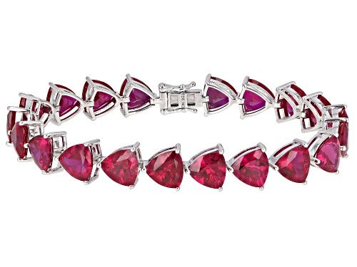 Photo of 36.60ctw Trillion Lab Created Ruby Rhodium Over Sterling Silver Bracelet - Size 8