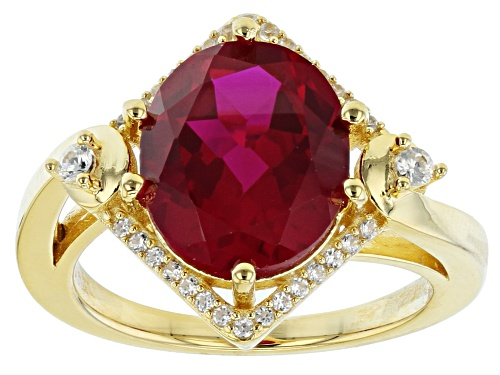 Photo of 5.61ct Oval Lab Created Ruby & .20ctw Round White Zircon 18k Yellow Gold Over Silver Ring - Size 8