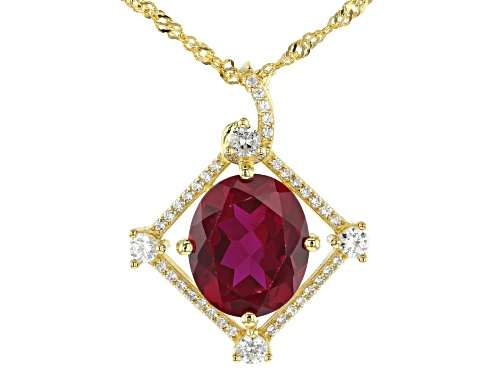 Photo of 5.61ct Oval Lab Created Ruby & .42ctw White Zircon 18k Yellow Gold Over Silver Slide With Chain