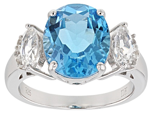Photo of 5.61ct Oval Swiss Blue Topaz & 1.03ctw Lab Created White Sapphire Rhodium Over Silver Ring - Size 7