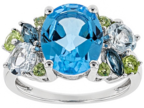 Photo of 3.85ct Swiss Blue Topaz & 1.70ctw Blue Topaz & Peridot Rhodium Over Sterling Silver Ring - Size 7