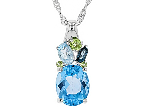 4.61CTW SWISS BLUE, LONDON & GLACIER BLUE TOPAZ WITH PERIDOT RHODIUM OVER SILVER PENDANT W/ CHAIN