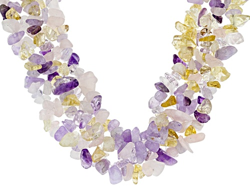 Free-Form Brazilian & Lavender Amethyst, Rose Quartz & Citrine Sterling Silver Multi-Row Necklace - Size 19