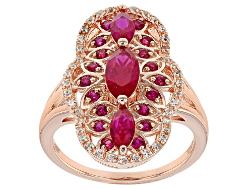 Photo of 1.15ctw Marquise & Round Lab Created Ruby, .17ctw Zircon 18k Rose Gold Over Silver Ring - Size 7