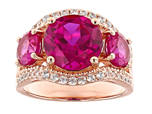 Photo of 5.41ctw Round Lab Created Pink Sapphire With .44ctw Zircon 18k Rose Gold Over Silver Ring - Size 7