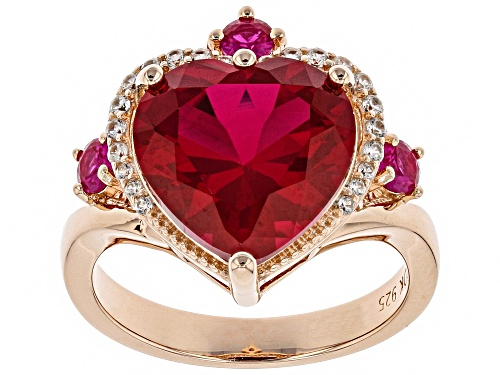 Photo of 5.45ctw Heart Shape & Round Lab Created Ruby, .17ctw Zircon 18k Rose Gold Over Silver Ring - Size 8